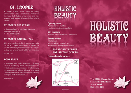 Optical Design & Print - Holistic Beauty Leaflet
