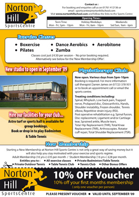 Optical Design & Print - Norton Hill Sports Centre Flyer